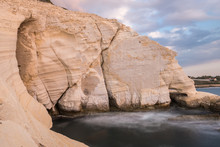 Rosh Hanikra Cliff At Sunset In Israel