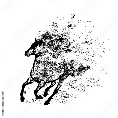 Cuadros en Lienzo wild mustang horse running in splash of ink paint - black and white vector grung