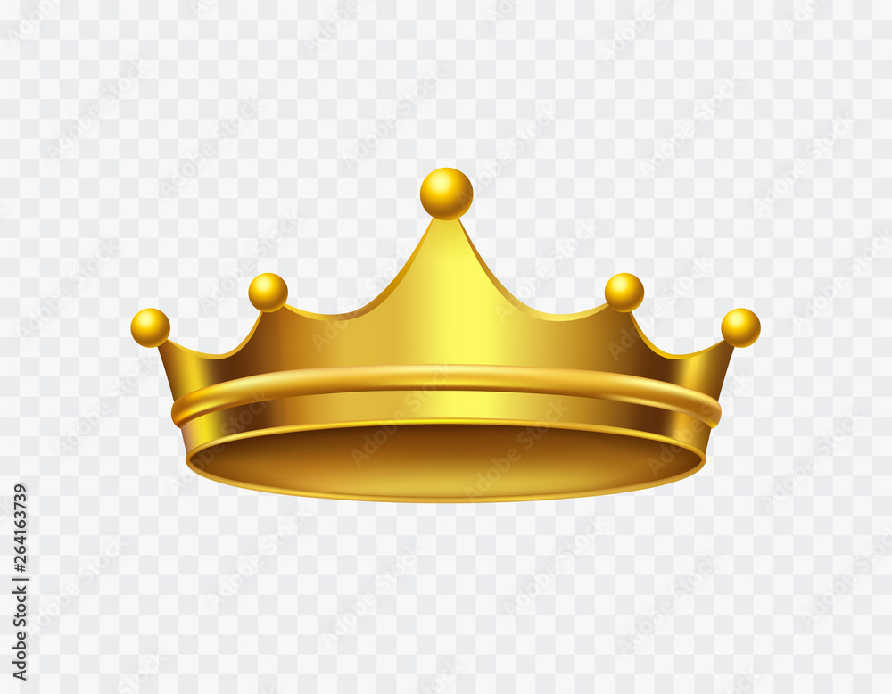 Fototapeta Crown of king isolated on transparent background. Gold royal icon. Vector golden corona template.