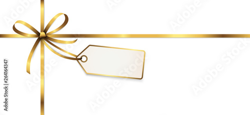golden colored ribbon bow with hang tag Wallpaper Mural