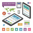 Flat infographic design elements and icons vector illustration.