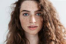 Beautiful Freckles Young Woman...