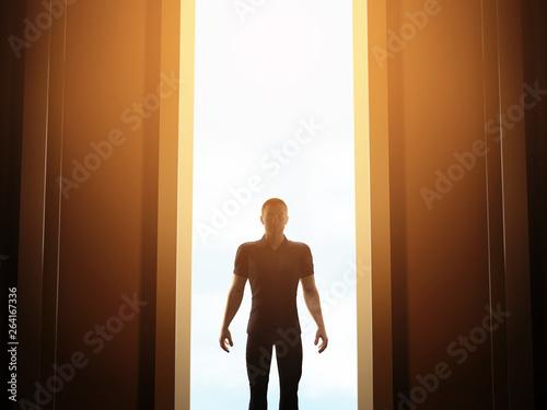 Photo  Man standing in front of mysterious open door