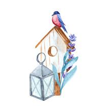 Watercolor Garden Tools. Compo...