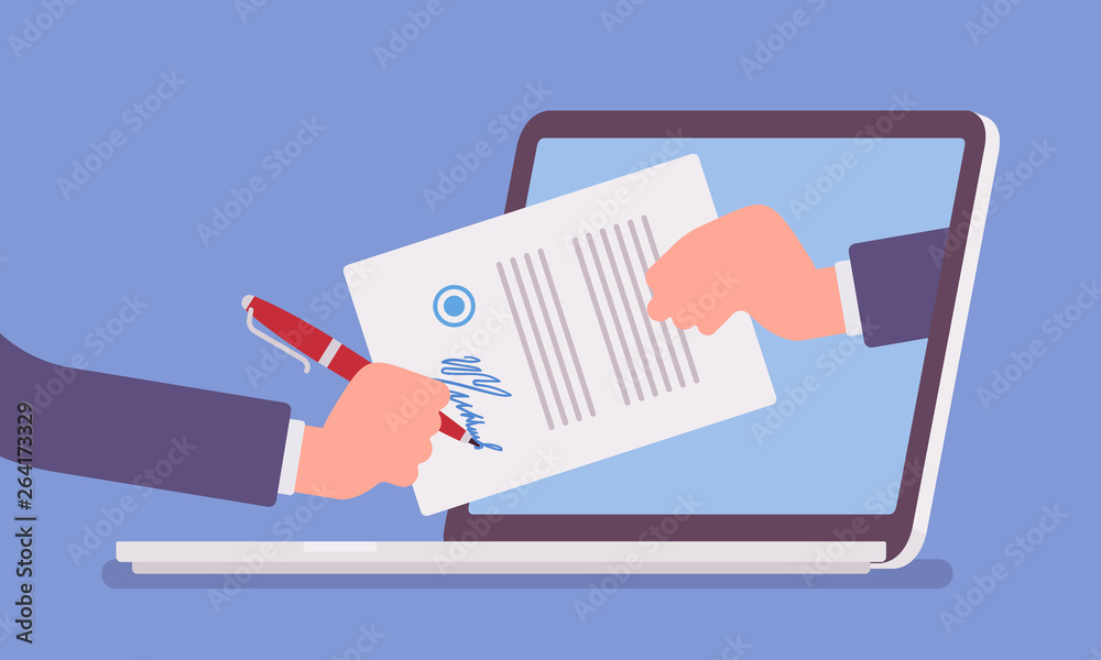 Fototapeta Electronic signature on laptop. Business Esignature technology, digital form attached to electronically transmitted document, verification of intent to sign agreement, legal deal. Vector illustration