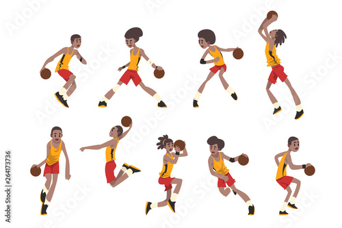 Carta da parati Basketball player set, athletes in uniform playing with ball vector Illustration