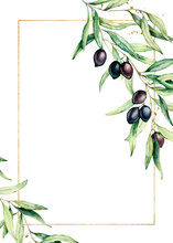 Watercolor Card With Olive Tre...