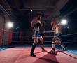 Two sporty male boxers training kickboxing in the ring at the health club