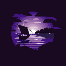 Silhouette Sailboat In Night Sea Illustration . Landscape With Sea And Mountains