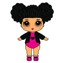 Cute Vector Lol Doll With Black Hair And Big Brown Eyes. Design For Baby Girl T-shirt, Decoration Birthday Invitation, Coloring Book. Modern Kids Fashion With Black Glitter Heart On Pink Background