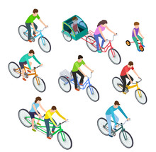 Isometric People Bike. Man Wom...