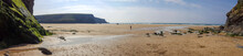 Panorama Of Mawgan Porth Beach, Cornwall, UK