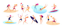 Beach People. Summer Vacation Family Beach Active Man Woman Playing Sports Standing Sunbathing Walking Sea Kids Isolated Vector Set. Illustration Of Woman And Man On Vacation