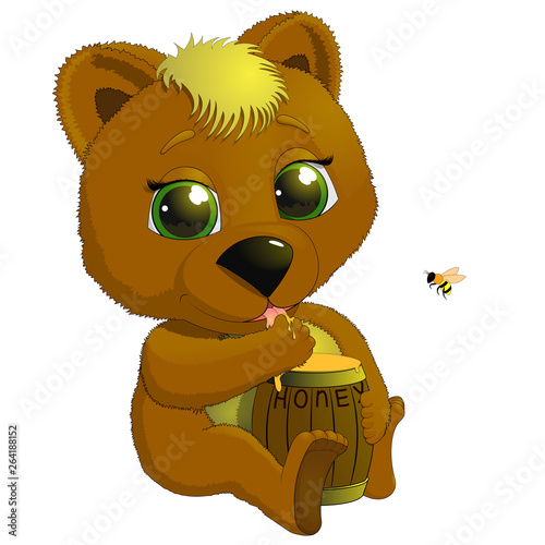 Bear with a Barrel of Honey Royalty Free Vector Image