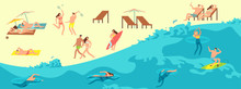 Sunbathing, Playing And Swimming People In Summer Beach. Summer Time Vector Illustration. Summer Swimming On Sea, Summertime Beach