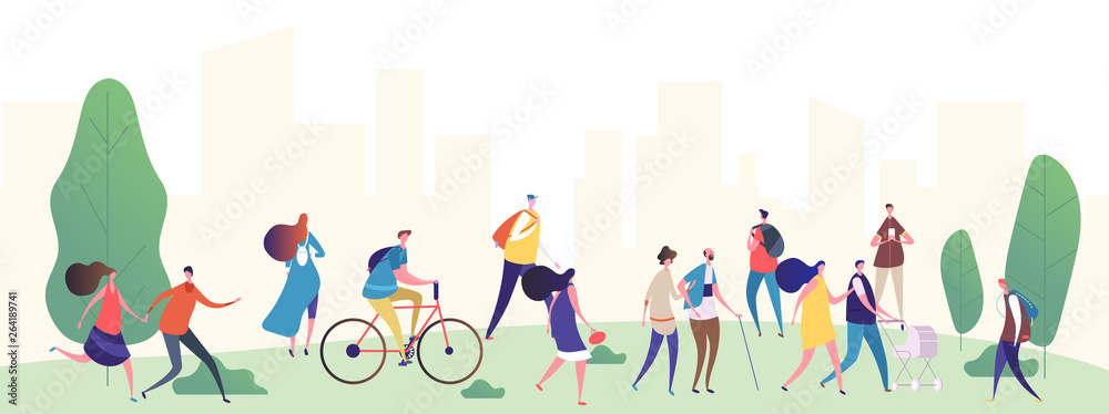 Fototapeta People walk in the city park vector illustration. Park city with, people, summer walking and ride by bicycle