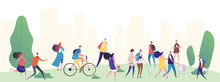 People Walk In The City Park Vector Illustration. Park City With, People, Summer Walking And Ride By Bicycle
