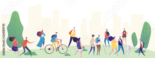 Leinwand Poster People walk in the city park vector illustration