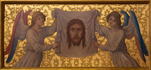 PRAGUE, CZECH REPUBLIC - OCTOBER 12, 2018: The Symbolic Painting Of Face Of Jesus On The Side Altar In Church Bazilika Svatého Petra A Pavla Na Vyšehrade.
