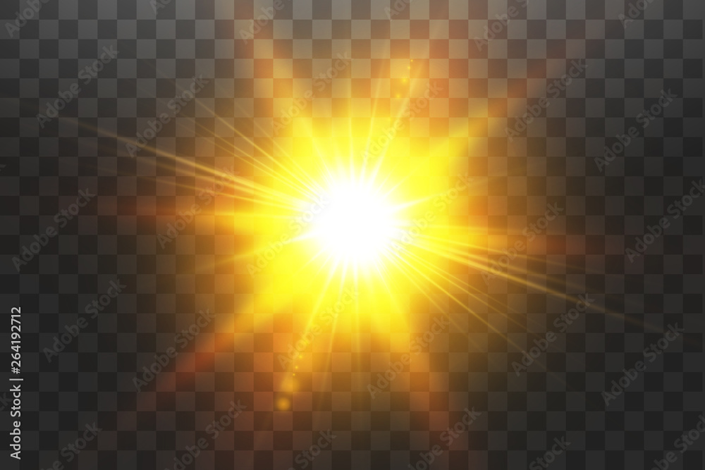 Fototapety, obrazy: Vector transparent sunlight special lens flare light effect. Sun isolated on transparent background. Glow light effect