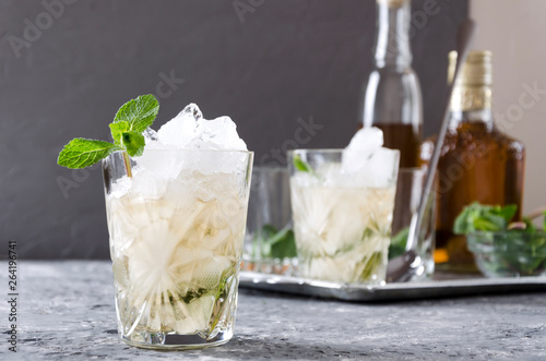 Valokuva Closeup of old-fashioned glass of mint julep against tray with alcohol beverage,