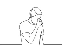 Continuous Line Drawings Of Young Men Feeling Sad, Tired And Worried About Suffering From Depression In Mental Health. Problems, Failures And Concepts Of Heartbreak