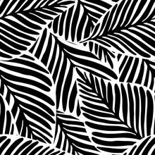 Monochrome Jungle Geometric Seamless Pattern. Exotic Plant.
