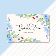 Thank You Card With Blue Peach...