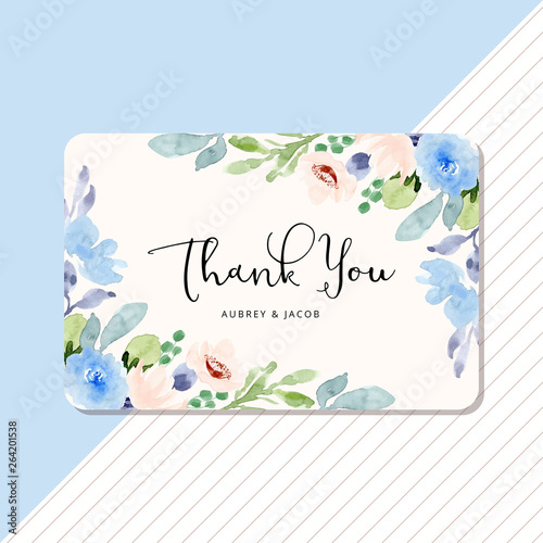 Valokuva  thank you card with blue peach floral watercolor frame