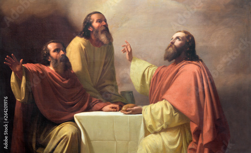 Obraz The detail of painting of Jesu supper with the disciples of Emmaus in church Chiesa di San Placido by Michele Rapisardi (1858) - fototapety do salonu
