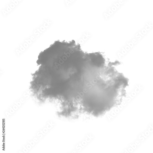 Fotografiet  Cloud isolated on a white background for making brushes in Photoshop monochrome