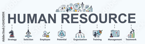 Human resource banner web icon for business. strategy, selection, profile, HR, employee and organization. Minimal vector infographic.