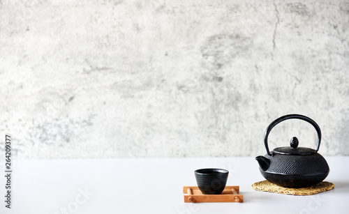 Foto auf AluDibond Tee japanese tea set oriental drink style on the table