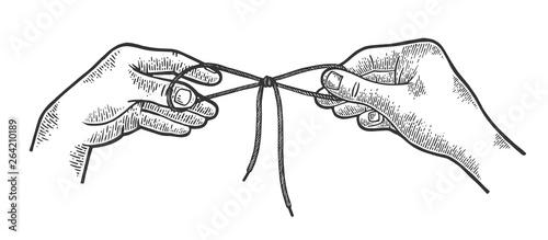 Hands tie shoelaces sketch engraving vector illustration Tableau sur Toile