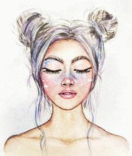 Drawing Of A Fantastic Girl With A Beautiful Make-up. Snow Queen. Watercolor Illustration.