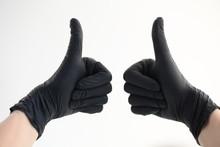 Women Hand In Black Gloves Nit...