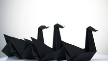 Three Paper Swans On White Background. Composition Of Three Origami Birds. Amazing Artistic Work.