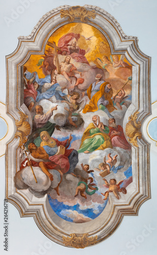 CATANIA, ITALY - APRIL 8, 2018: The ceiling fresco of Apotheosis of St. Joseph in church Chiesa di San Giuseppe in Transito by Olivio Sozzi (1754).