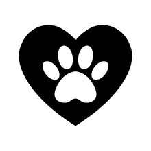 The Dog's Track In The Heart. Cat And Dog Paw Print Inside Heart