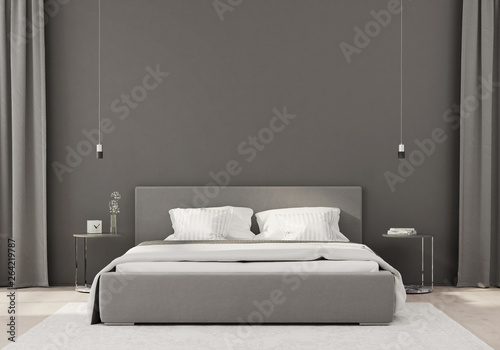 Fototapeta Gray bedroom in a minimalist style obraz