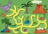 Fototapeta Dinusie - Vector illustration maze game with dinosaur theme. Can you help the dinosaur to find the eggs?
