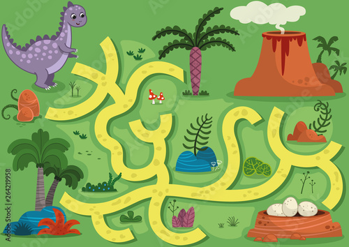 Printed kitchen splashbacks Castle Vector illustration maze game with dinosaur theme. Can you help the dinosaur to find the eggs?