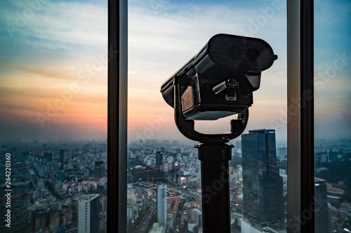 Fotografie, Tablou  Public binocular telescope binoscope , on top of observation deck - wonderful Ci