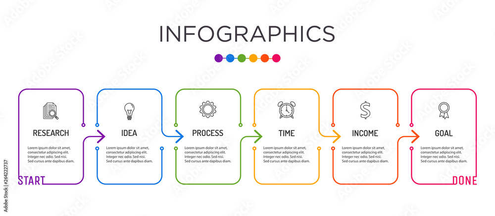 Fototapety, obrazy: Full-color business label Infographic template.