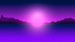 canvas print picture - Futuristic cyberpunk neon sunset . Light  and grid,  retrowave 80s-90s aesthetics