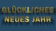 Animation of colored particles turn into blue background and inscription - Gluckliches Neues Jahr, Happy New Year in german language.
