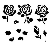 Vector Roses, Petals And Buds.  Set Of Decorative Flower Silhouettes.