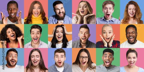 Fotografia  Collage of millennials emotional portraits.