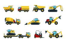 Truck, Bulldozer, Mixer, Roller, Dumper, Excavator