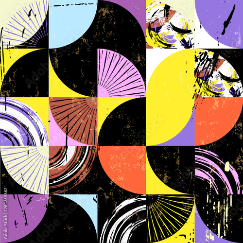 abstract background pattern, with squares, circles, strokes and splashes